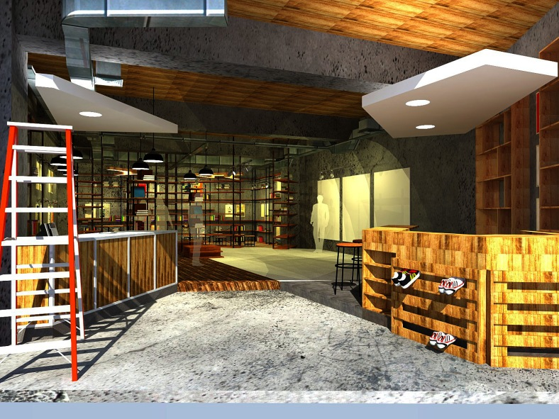 cafe library stand design (front view)